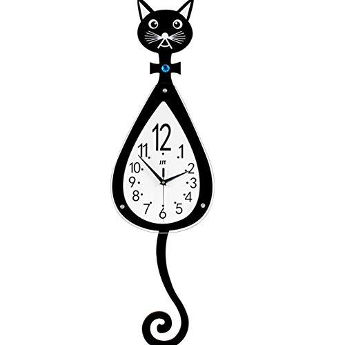 PDXGZ Chat Modélisation Bricolage Horloge Murale, Creative Bande DessinéE Mignon Horloge Murale Décoration d'intérieur pour Le Salon, la Chambre à Coucher, la Cuisine 74 * 25CM,74 * 25cm