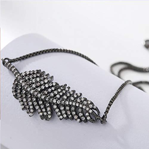 DMUEZW Fashion Zirkoon Leaf Connector Box Ketting Slider Verstelbare Armband Vrouw Bruiloft Bling Armbanden
