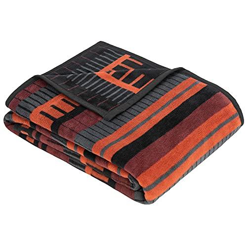 Ibena Berat Kuscheldecke 150x200 cm - gestreifte Decke dunkelrot orange, Leicht zu pflegene & kuschelweiche Baumwollmischung