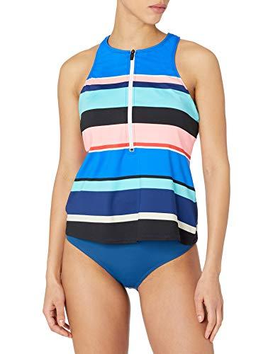 24th & Ocean Women's Swim Tank Tankini Swimsuit Top, Multi//Step Up Stripe, S