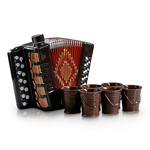 Juego de bar espirituosas como acordeón, acordeón, bayan para alcohol de cerámica, 1 jarra de vino (2,6 L) y 6 vasos de chupito, caja de regalo, accesorios para licor de ron, bourbon, whisky y vino
