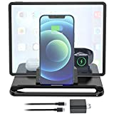 Wireless Charging Station, Fast Wireless Charger for Apple, 4 in 1 Wireless Charging Station for iPhone 12/11 Pro Max/X/XS, AirPods 2/Pro, Apple iWatch Series, Apple Pencil 2, With iPad Stand Holder