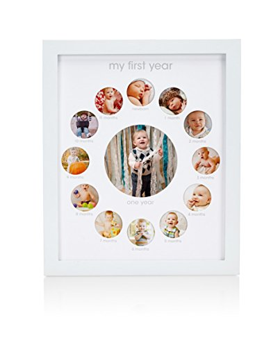 Pearhead Eerste jaar Baby Keepsake Fotolijst, houdt 13 foto's – Perfecte Moederdag of eerste verjaardag accessoire…
