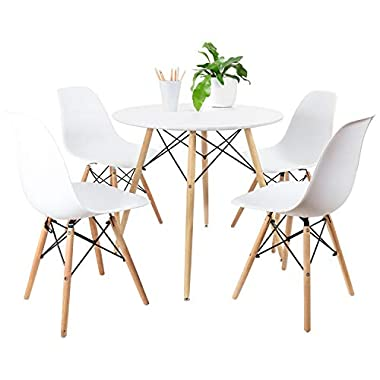 Furmax Kitchen Dining Table White Modern Style Round Leisure Coffee Table,Office Coference Desk with Wood Legs for Kitchen Living Room (05White)