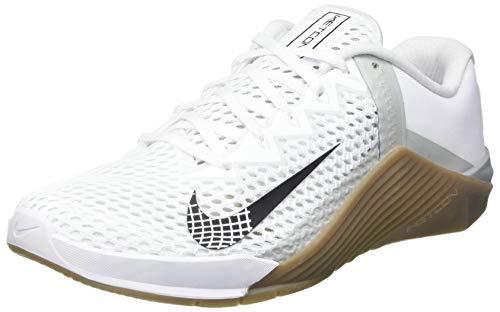 Nike Metcon 6, Gymnastics Shoe Hombre, White/Black-Gum Dark Brown-Grey Fog-White, 43 EU