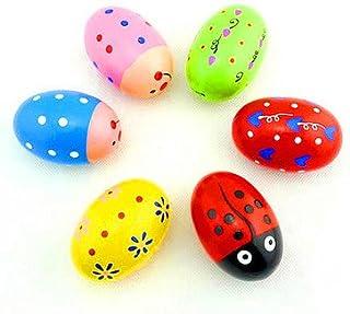 JAGENIE 6pcs Madera Percusión Huevos Musicales Maracas Egg Shakers Bebé Juguete Maker Ruido Regalo de Año Nuevo de Navidad, 1 pc, Entrega Aleatoria