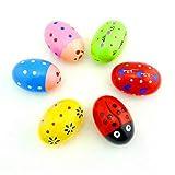 6 Stück Eier-Rasseln aus Holz, Perkussions-Eier, Maracas-Eier, Baby-Spielzeug