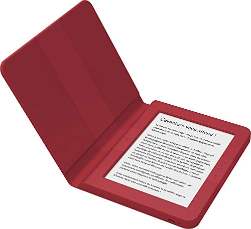 """BOOKEEN Saga Rouge - Liseuse E-Ink avec éclairage - Ecran 6"""" 1024x758-8 Go - Couverture intégrée en Silicone- Douce au Toucher et Ultra-résistante"""