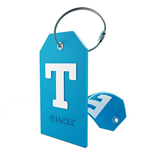 Initial Luggage Tag with Full Privacy Cover and Stainless Steel Loop (Aqua Teal) (T)