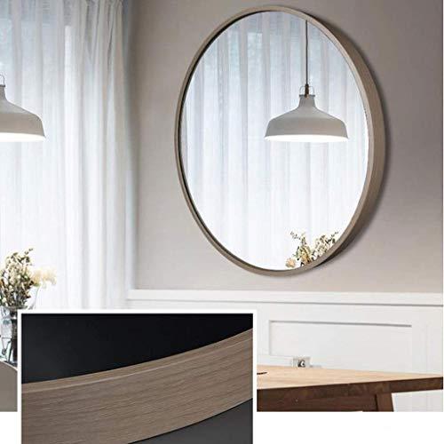 Espejos de tocador montados en la Pared, Espejo de Pared Nordic Wind Espejo Colgante de Pared Baño Espejo de Maquillaje Redondo Aluminio Roble Borde Blanco, 40CM, Espejo HD
