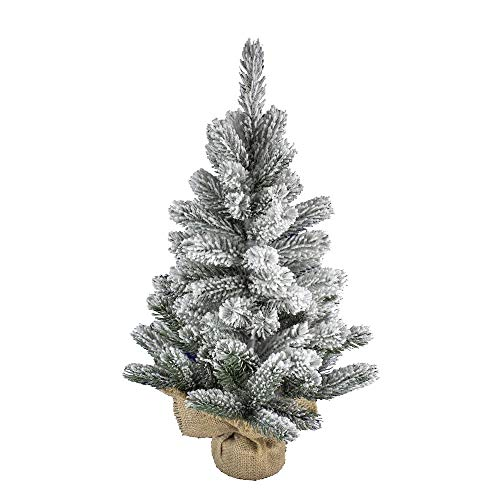 artplants.de Abete Artificiale Innsbruck, Sacco di Iuta, innevato, 60cm, Ø 40cm - Albero di Natale/Abete di plastica