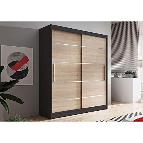 VIS06 - Armario con puertas correderas (150 cm), color roble y negro