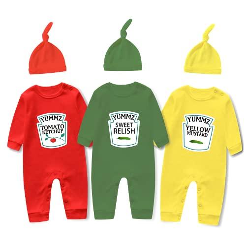 culbutomind Baby-Triplets, süßes Outfit mit Tomaten-Ketchup-Senf, lustiger Hut und Zwillings-Bodysuit-Set Gr. 74, Strampler