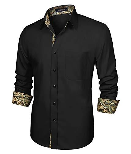 HISDERN Camisa para Hombre Casual Formales Clásico con Botones Camisas de Vestir Cuello de Manga Larga Ajuste Negro Paisley