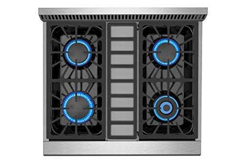 Empava 30 in. 4.2 cu. ft. Pro-Style Slide-In Single Oven Gas Range with 4 Sealed Ultra High-Low Burners-Heavy Duty Continuous Grates in Stainless Steel, 30 Inch, Black 6 The slide-in gas range offers the heavy-duty cast iron grates and 4 versatile burners, two single 18000-BTU burners, one single 12000-BTU burner, a dual ring 15000-BTU burner (650-BTU for simmer) distribute even heat for simmer, boil, stir-frying, steaming, melting or even caramelizing! The deep recessed gas range with an automatic reignition ensures a continuous flame and reignites automatically if accidentally extinguished. The zinc alloy control knobs with a blue LED lights that allows you to see if the cooktop is turn on from a distance. The stainless-steel gas range with a brilliant blue interior, the temperature can be set up from 150°F to 500°F help you to cook perfectly and accurately. It's good for broil, bake, defrosting, dehydration, preheating.
