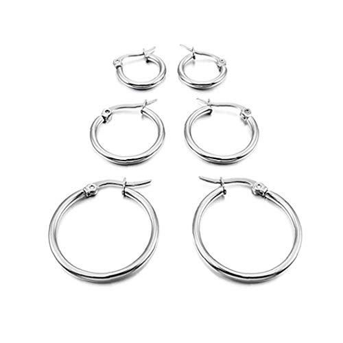 Women Earring Hoops White Gold Polished Titanium Steel Classic Simple Circle Flattened Hoop Earrings in Different Sizes 3 Pairs Convenient Supply