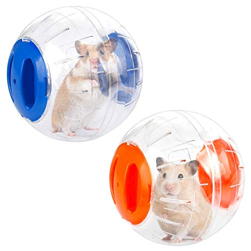 Hamsterball,2 Stück Hamster Laufball,12cm Kleines Haustier Übungs Sportball, Hamster Laufkugel Rolle Kugel Übungs Joggingball für Ratten Rennmäuse Kleintiere(Blau und Orangen)