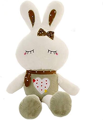 NOWPST Dessin Animé Doux en Peluche en Peluche Créatif Mignon Blanc Lapin en Herbe Cadeau pour Enfants Garçon Fille Oreiller Coussin Poupée Hauteur 60cm