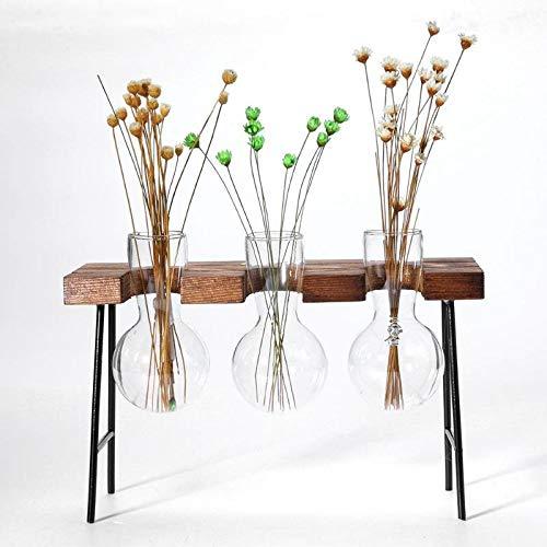 KnikGlass Florero Soporte de Madera, Maceta de Vaso de Vidrio Transpar