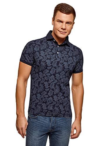 oodji Ultra Herren Bedrucktes Baumwoll-Poloshirt, Blau, DE 58-60 / XXL