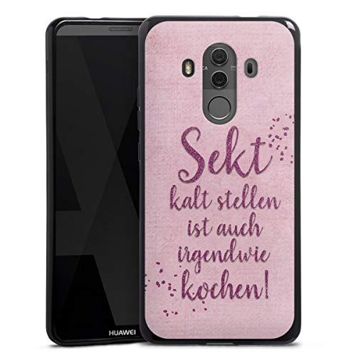 Silikon Hülle kompatibel mit Huawei Mate 10 Porsche Design Case schwarz Handyhülle Statement Sekt Mama