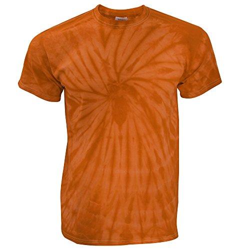 TDUK - Camiseta psicodélica modelo espiral de manga corta para hombre 100% Algodón- Verano Hippie (Mediana (M)/Naranja espiral)