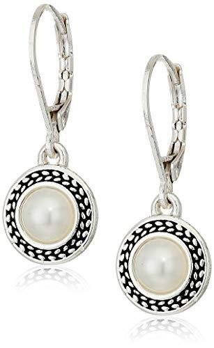 Napier Women's Silvertone and White Pearl Drop Leverback Earrings