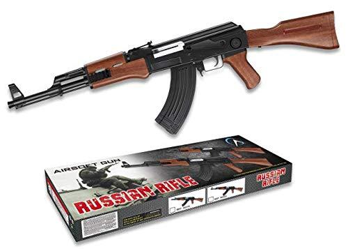 AK-47 Kalashnikov Arma Larga Airsoft Aire Suave 6 mm Potencia 0,50 Julios Airsoft Paintball Caza Supervivencia bushcraft Camping Outdoor 38320 + Portabotellas de regalo