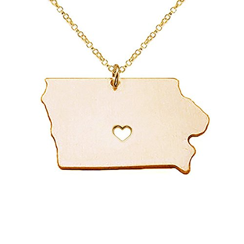Meiligo 18K Gold Silver Country Map Charm Pendant Iowa State Map Necklace Jewelry (Gold)