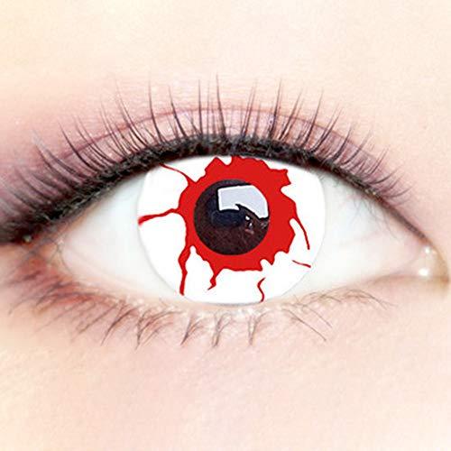 Farbige Kontaktlinsen Halloween und Karneval, Stark Deckende, Komfortabel, Rotes Blut Crazy Partys Cosplay Weich Jahreslinsen, 1 Paar (2 Stück) + Kontaktlinsenbehälter, 0.00 Dioptrien