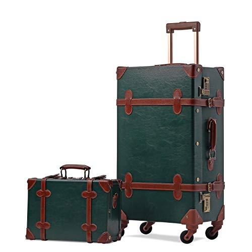 UNITRAVEL Koffer-Set Vintage Hartschalen 2-teilig Dunkelgrün