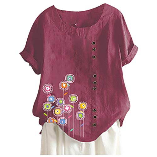 aihihe Plus Size Blouses for Women Short Sleeve Cotton Linen Cute Floral Printed T Shirts Top Blouse Tunic