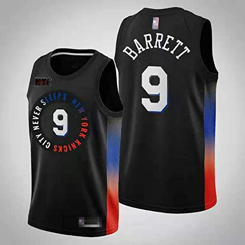 YDYL-LI Jersey Men's, NBA RJ BARTTT # 9 New York Knicks Classic Men's Basketball Jerseys Sin Mangas Camiseta Transpirable,Negro,M(170~175CM)