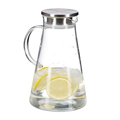 Relaxdays Glaskaraffe, 1,8 l, mit Deckel, Wasser, Saft, Aromawasser, spülmaschinenfest, Wasserkrug, transparent/silber