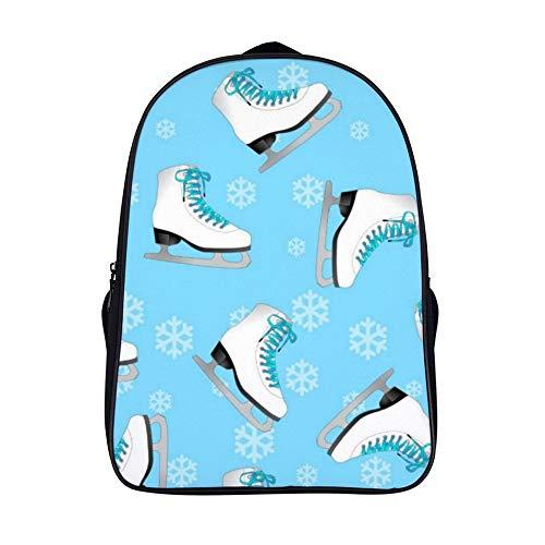 XIAHAILE Kompakte Rucksack Büchertasche für Männer und Frauen, leichter Rucksack für Schul und Urlaubsreisen,Eiskunstlauf Eis Schlittschuhe blau mit Schneeflocken
