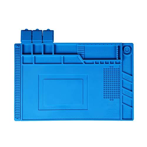 """IMAGE Tapis à Souder Magnétique 17.7"""" * 11.8"""" Isolation Thermique en Silicone, Tapis Antidérapant, Durable, Tapis de Réparation pour BGA, Soudage Accessoire pour Ordinateur Téléphone"""