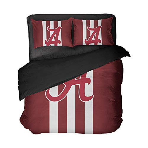 ShellMai 3PCS Alabama State Bedding College Football Bed Set Nation Athlete Flat Sheets, University Students Bed Quilt Cover Striped Queen Sets