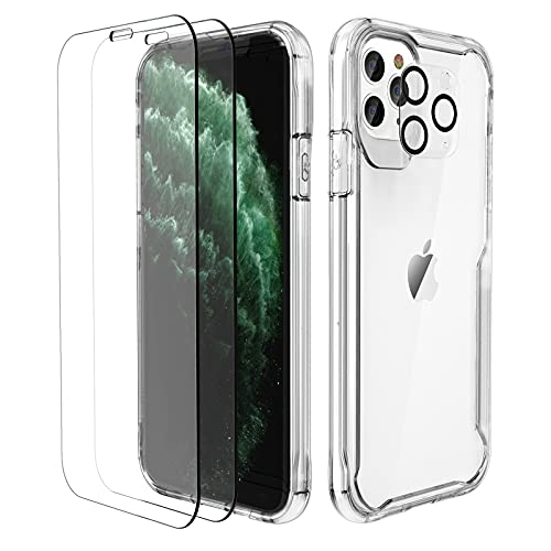 """ORETECH Funda Transparente para iPhone 11 Pro(5.8""""), con [2X Vidrio Cristal Templado y 1x Cámara Protector de Pantalla] Silicona Bumper Carcasa Antichoque Anti-Arañazos Caso para iPhone 11 Pro, Clara"""
