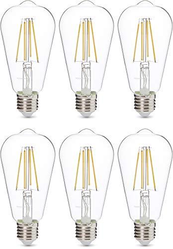 AmazonBasics Professional Lot de 6 ampoules LED Culot Edison à vis E27 Équivaut à 60W À filament en verre transparent Intensité variable