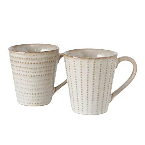 Juego de 2 tazas de porcelana con asa, estilo rústico, color crema y marrón claro, con lunares horizontales y longitudinales, 220 ml, 9 cm de alto x 8 cm de diámetro