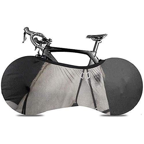 L.BAN Sweet-Heart Cubierta de Rueda de Bicicleta, Proteger Gear Cubierta de Bicicleta de neumático - Caballo Blanco Semental Andaluz Cabeza Negra Brida Occidental Animal Hermoso