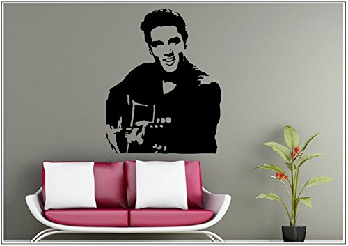 Wandtattoo wandaufkleber wandsticker photo Porträt Gitarre guitar elvis wph027(Printed Sticker,ca.15 x 6cm)