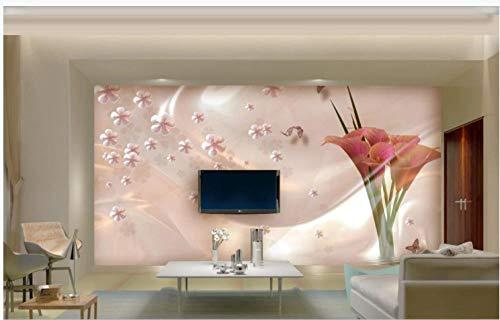 Papel tapiz para sala de estarCalla lily art flor fondo de jade 3D TV fondo mural de pared-250X160CM