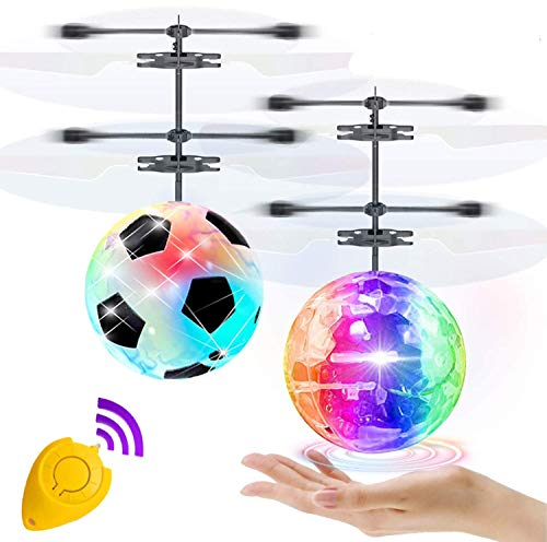 2 Pack Flying Ball Toys, RC Flying Toys for Kids Boys Girls Holiday Birthday Gifts Remote Control Drone Helicopter Rechargeable Ball Infrared Induction RC Drone Toy Indoor Outdoor Game