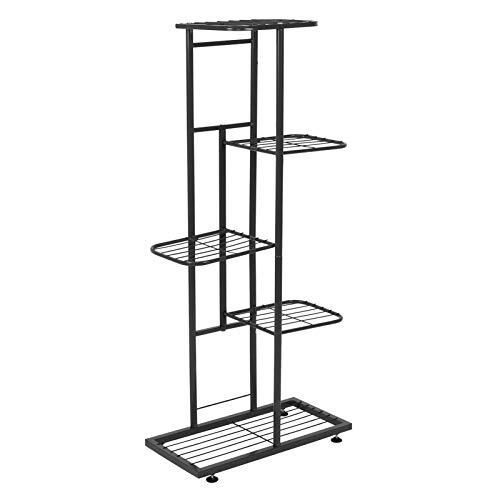 Langlebige stabile Struktur 5-lagige Blumenregal Pflanzenregal Eisen Blumentopf Stand für Balkon Dekoration(black)