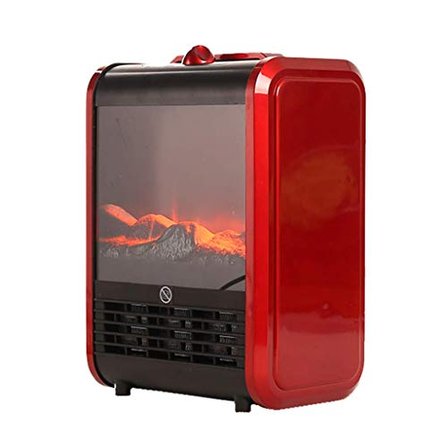 miaomiao Electric Fireplace Heater, Indoor Freestanding Fireplace Stove with Realistic Flame Effect - Overheat Protection - 12 inch 1500W Red