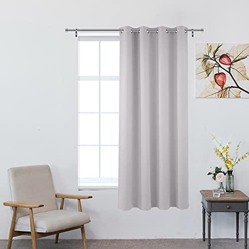 i@HOME Vorhang Blickdicht, Verdunkelungsvorhang Blickdicht Aschgrau Gardinen mit Ösen Vorhanng Aschgrau für Schlafzimmer Wohnzimmer 245X145cm (1PCS)