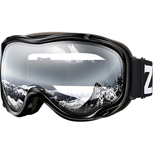 ZIONOR Lagopus Ski Snowboard Goggles UV Protection Anti fog Snow Goggles for Men Women Youth VLT 99% Black Frame Clear Lens