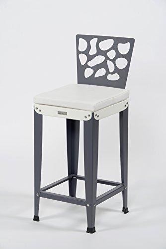 Styl'Métal 21 Lot 2 chaises de Bar Lilou D3 métal Blanc et Anthracite H60