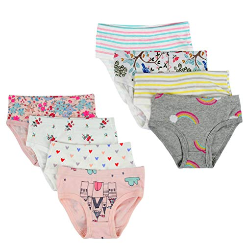 Kidear Unterwäsche für Kinder, weiche Baumwolle, verschiedene Muster für Mädchen, 8 Stück Gr. 3-4 Jahre, stil 1